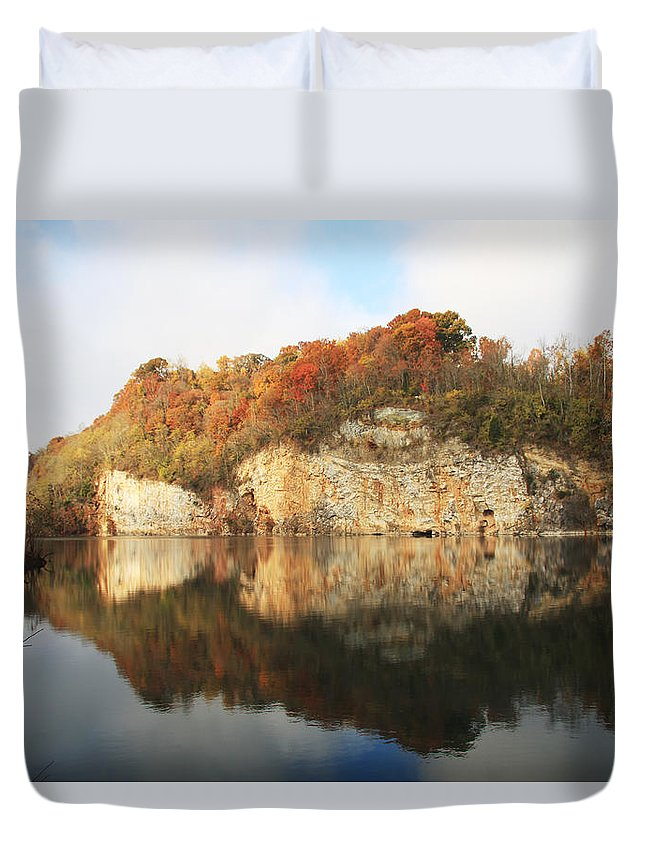 Marble Quarry Duvet Cover featuring the photograph Mead's Quarry In Autumn by Melinda Fawver