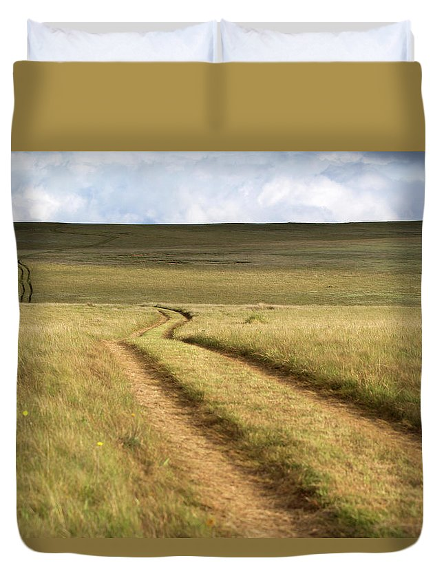Scenics Duvet Cover featuring the photograph Meandering Path Through The Hills Of by Morgan Trimble