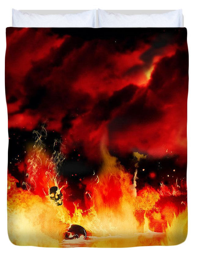 Dark Duvet Cover featuring the painting Meanwhile In Tartarus by Persephone Artworks