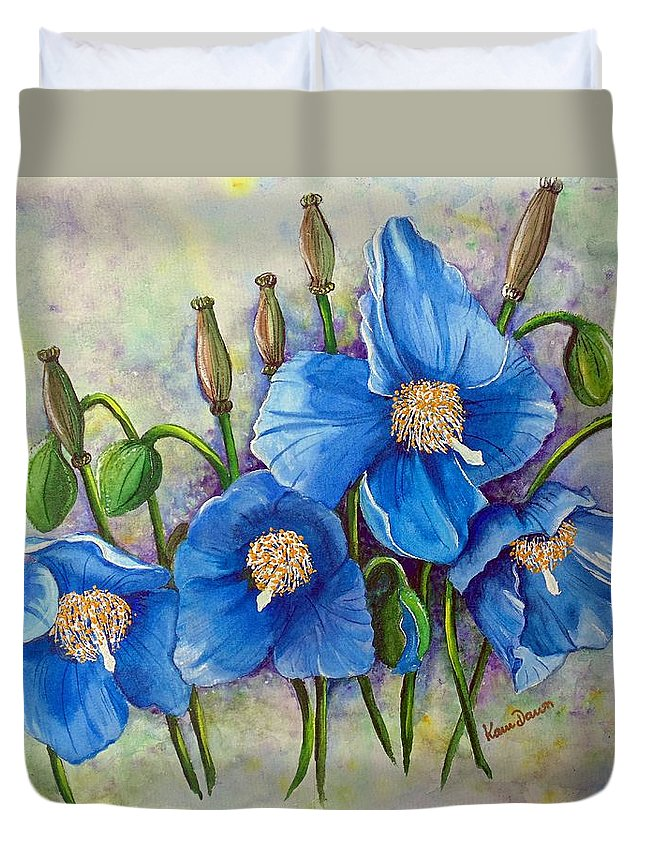 Blue Hymalayan Poppy Duvet Cover featuring the painting Meconopsis  Himalayan Blue Poppy by Karin Dawn Kelshall- Best