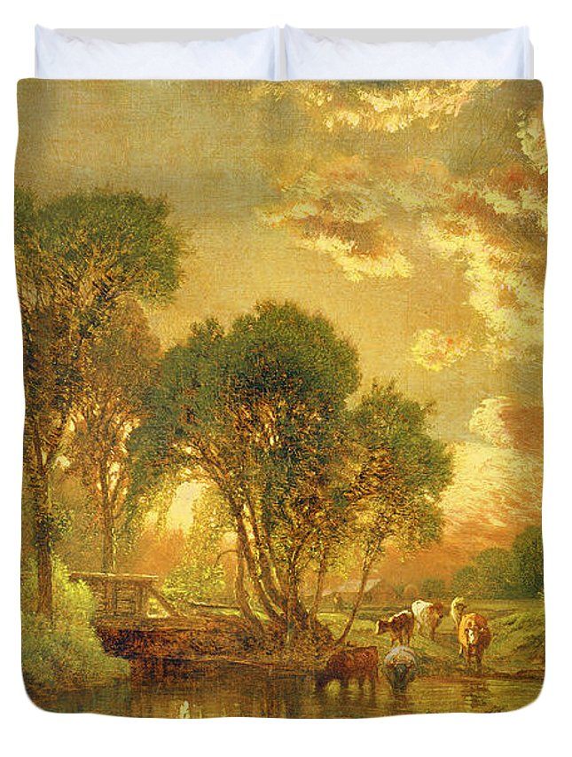 Inness Duvet Cover featuring the painting Medfield Massachusetts by Inness