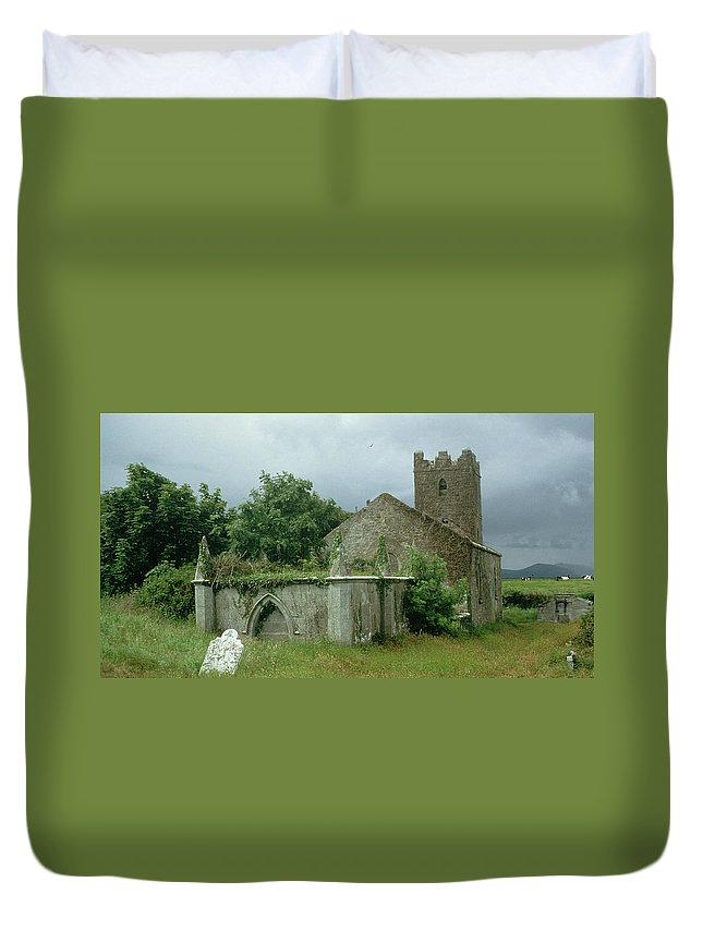 Medieval Church And Churchyard (photo) Site; Remains; Ruin; Ruined; Celtic; Rural; Abandonded; Gravestone; Irish; Goth Duvet Cover featuring the painting Medieval Church And Churchyard by Unknown