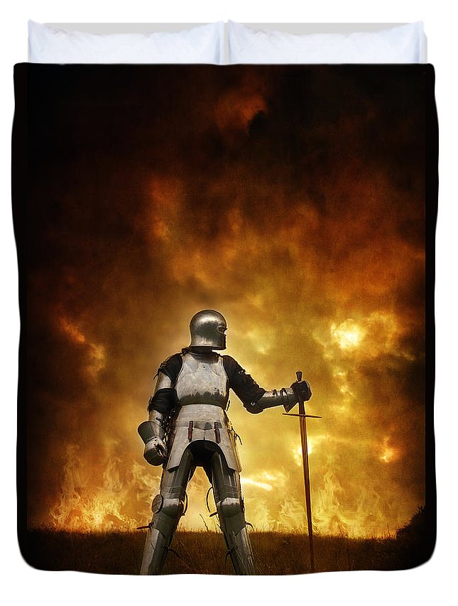 Knight Duvet Cover featuring the photograph Medieval Knight In Armour On A Burning Battlefield by Lee Avison