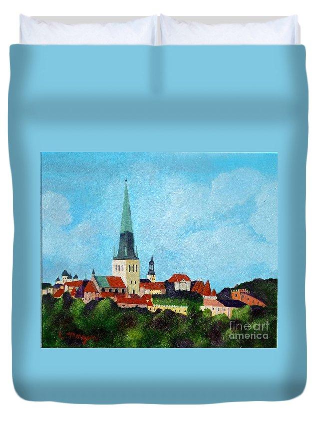 Tallinn Duvet Cover featuring the painting Medieval Tallinn by Laurie Morgan