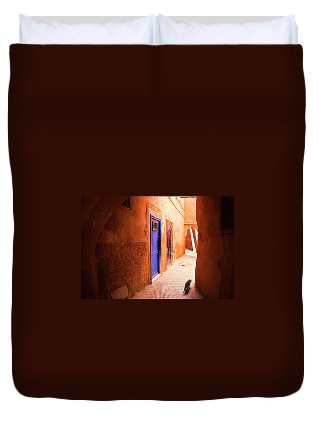 Arch Duvet Cover featuring the photograph Medina Of Marrakesh by Moreiso