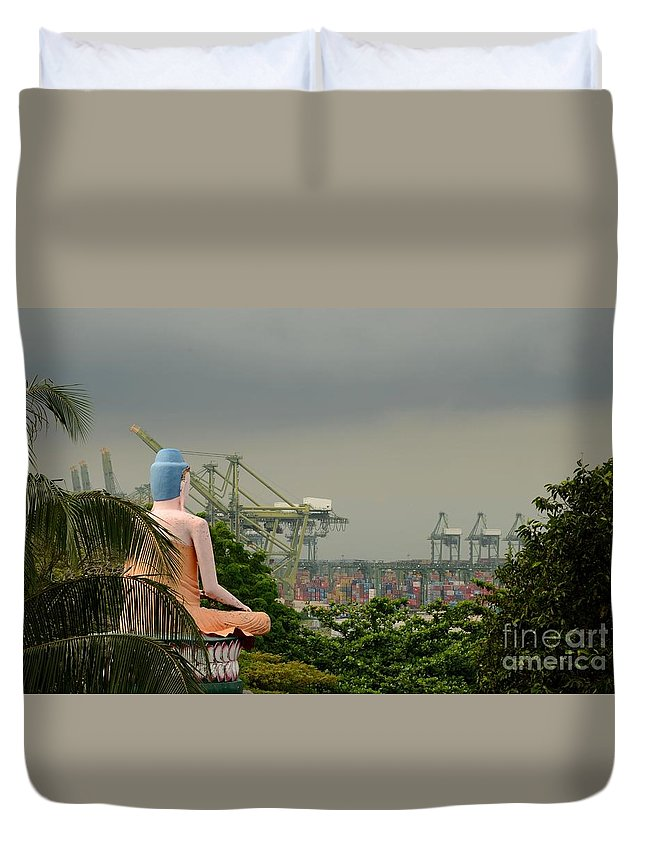 Lotus Duvet Cover featuring the photograph Meditating Buddha Views Container Seaport Singapore by Imran Ahmed