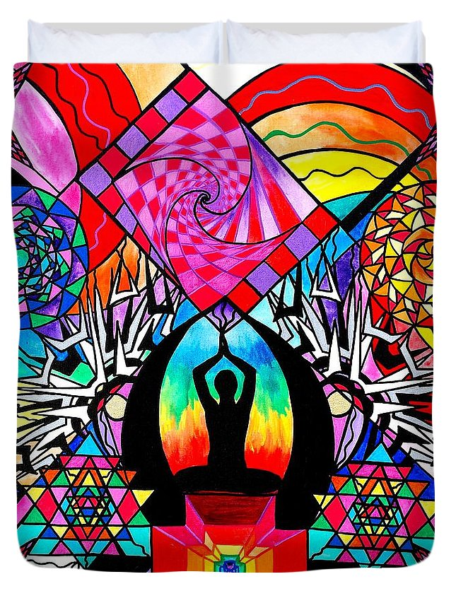 Vibration Duvet Cover featuring the painting Meditation Aid by Teal Eye Print Store