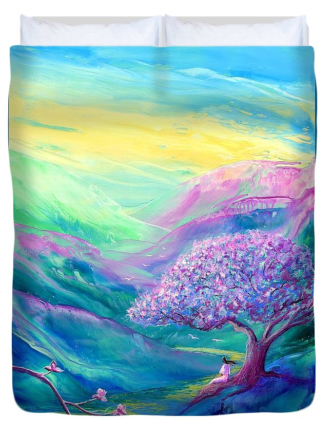 Spring Duvet Cover featuring the painting Meditation In Mauve by Jane Small