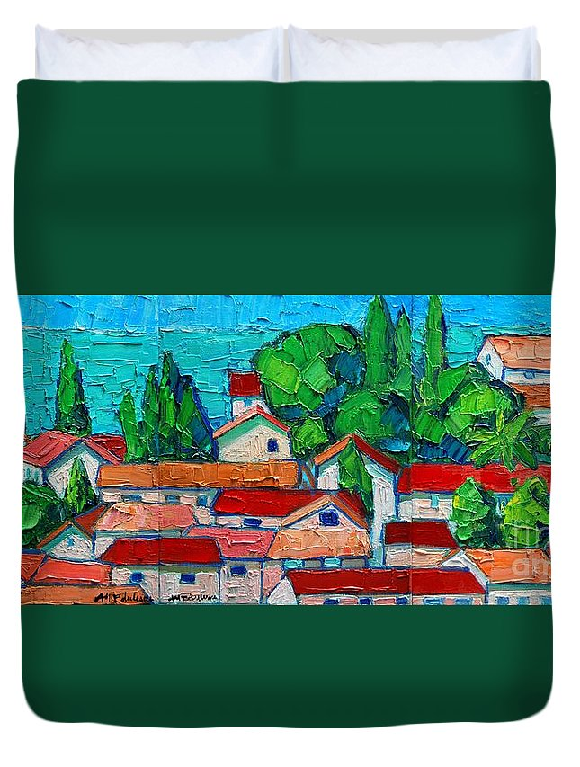 Sveti Duvet Cover featuring the painting Mediterranean Roofs 1 2 3 by Ana Maria Edulescu