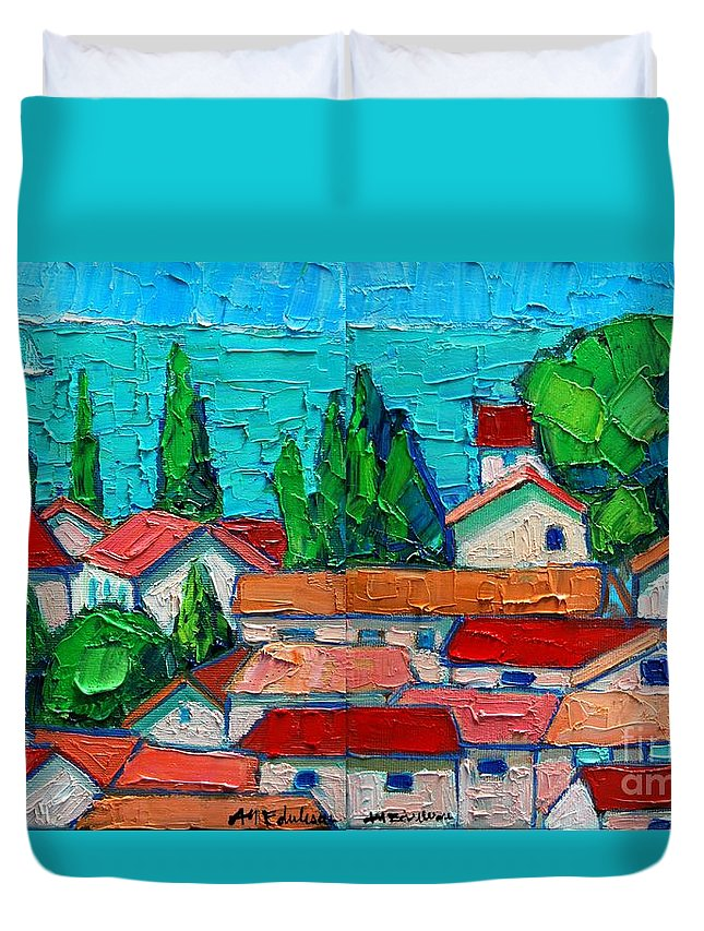 Sveti Duvet Cover featuring the painting Mediterranean Roofs 1 2 by Ana Maria Edulescu