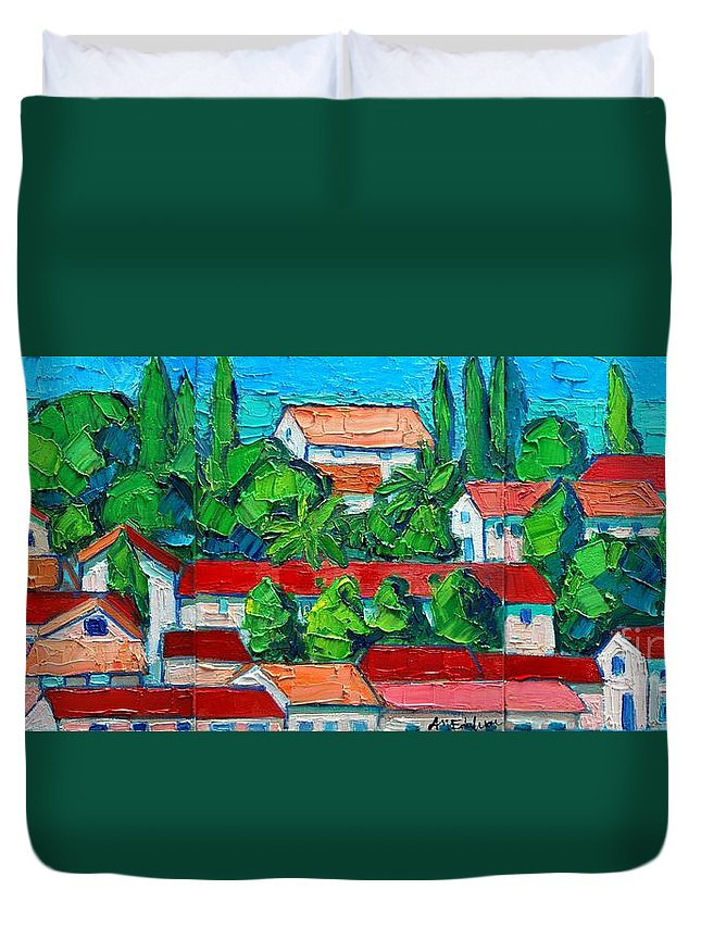 Sveti Duvet Cover featuring the painting Mediterranean Roofs 2 3 4 by Ana Maria Edulescu
