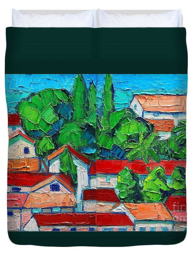 Sveti Duvet Cover featuring the painting Mediterranean Roofs 2 3 by Ana Maria Edulescu