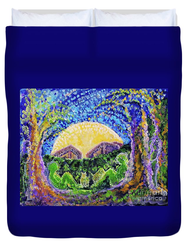 Moon Duvet Cover featuring the painting Meet Me by Holly Carmichael