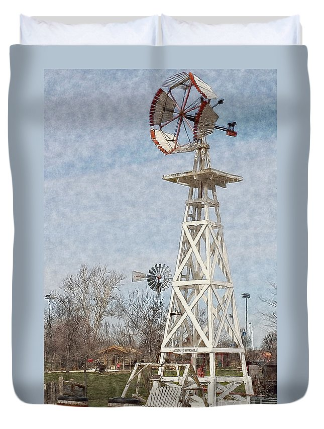 Megan's Windmill Duvet Cover featuring the photograph Megan's Windmill by Liane Wright