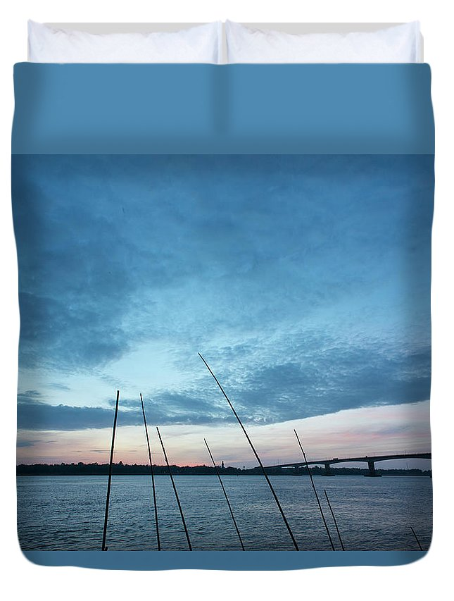 Scenics Duvet Cover featuring the photograph Mekong River At Dawn With Bridge by Eitan Simanor