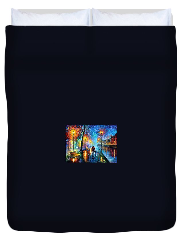 Leonid Afremov Duvet Cover featuring the painting Melody Of The Night - Palette Knife Landscape Oil Painting On Canvas By Leonid Afremov by Leonid Afremov