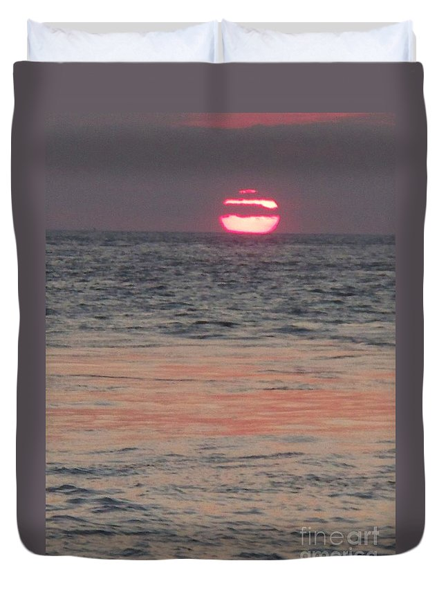 Photography Duvet Cover featuring the photograph Melting Sun Into The Cool Sea by Eric Schiabor