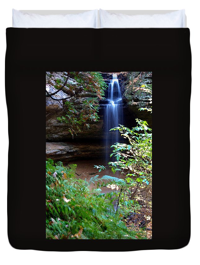 Ptical Playground By Mp Ray Duvet Cover featuring the photograph Memorial Falls I by Optical Playground By MP Ray