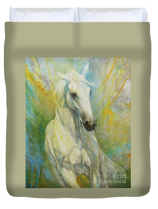 Horse Duvet Cover featuring the painting Memories Of A Grass Leaf by Silvana Gabudean Dobre