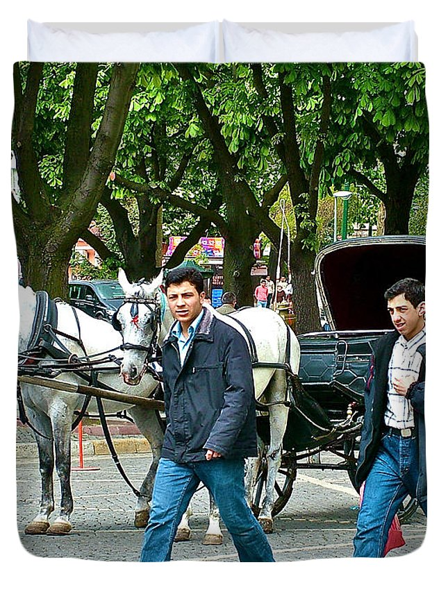 Men And Carriages In A Street Near Saint Sophia's In Istanbul-turkey Duvet Cover featuring the photograph Men And Carriages In A Street Near Saint Sophia's In Istanbul-turkey by Ruth Hager