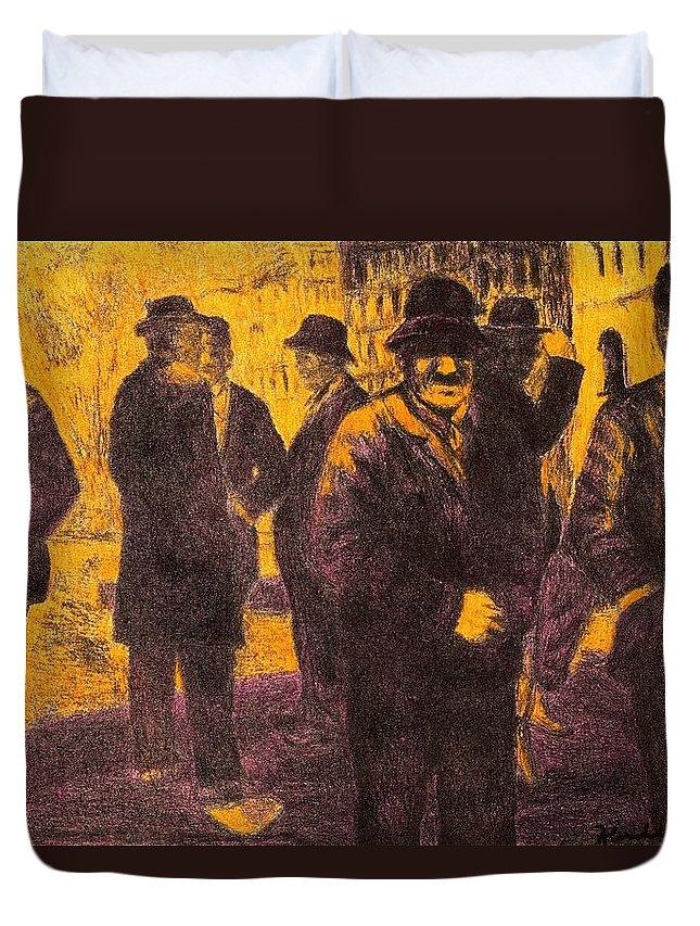 Men Duvet Cover featuring the drawing Men in Orange Light by Kendall Kessler