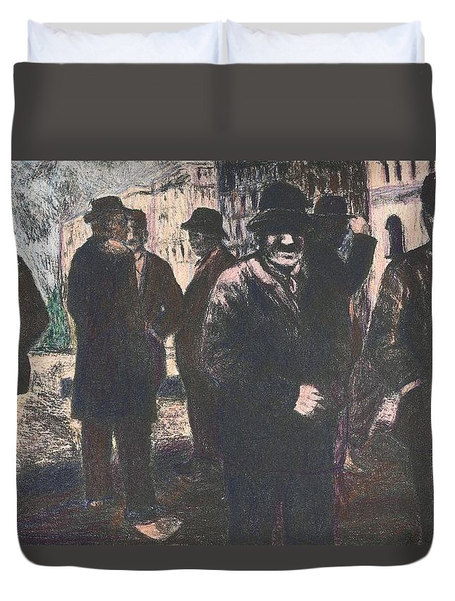 Men Duvet Cover featuring the drawing Men in Yellow Light by Kendall Kessler