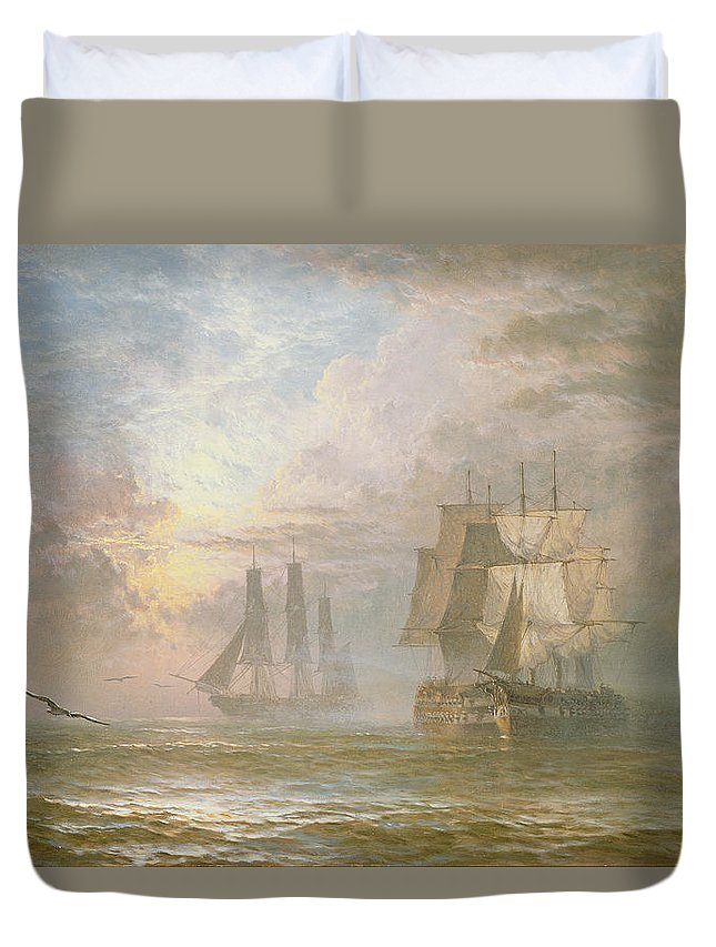Seagulls Duvet Cover featuring the painting Men Of War At Anchor by Henry Thomas Dawson