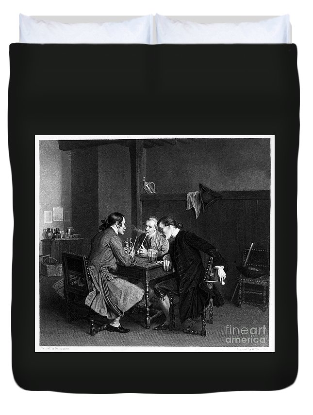 19th Century Duvet Cover featuring the photograph Men Smoking by Granger