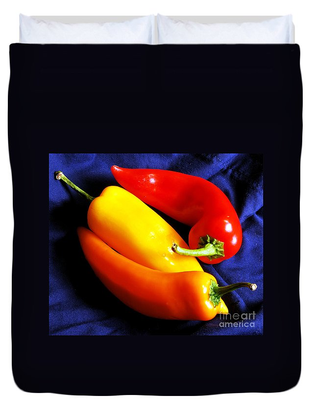 Peppers Duvet Cover featuring the photograph Menage A Trois Peppers Iv by Nancy Mueller
