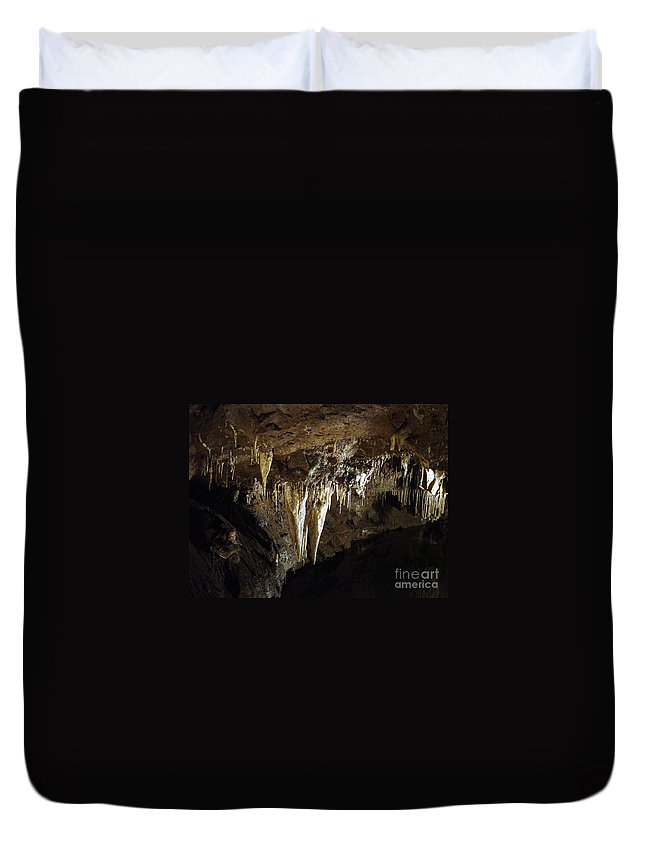 Scene Duvet Cover featuring the photograph Meramec Caverns - 2 by Jamie Smith