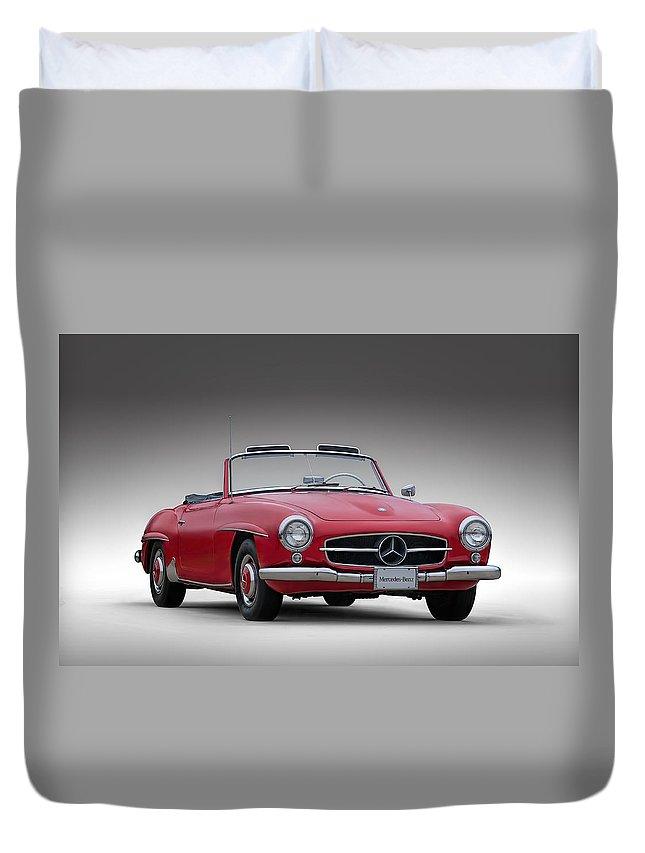 Mercedes Duvet Cover featuring the digital art Mercedes-benz 190 Sl by Douglas Pittman