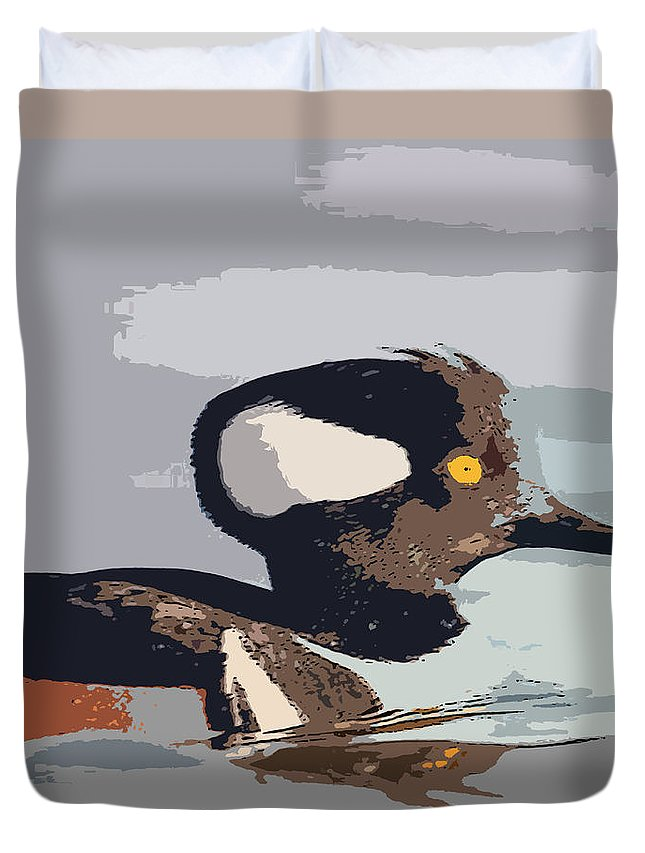 Merganser Duvet Cover featuring the painting Merganser Reflections by George Pedro