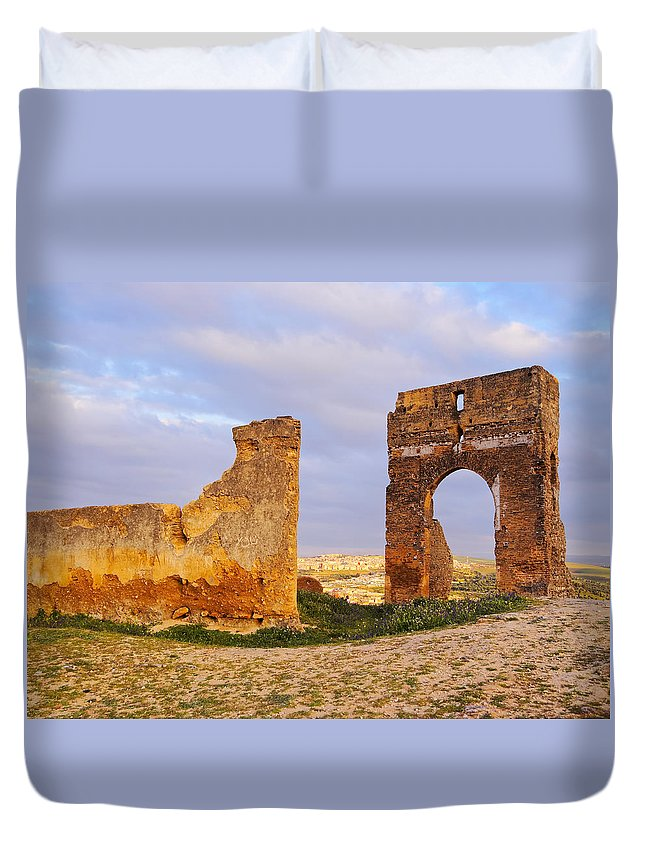 Africa Duvet Cover featuring the photograph Merinid Tombs Ruins In Fes In Morocco by Karol Kozlowski