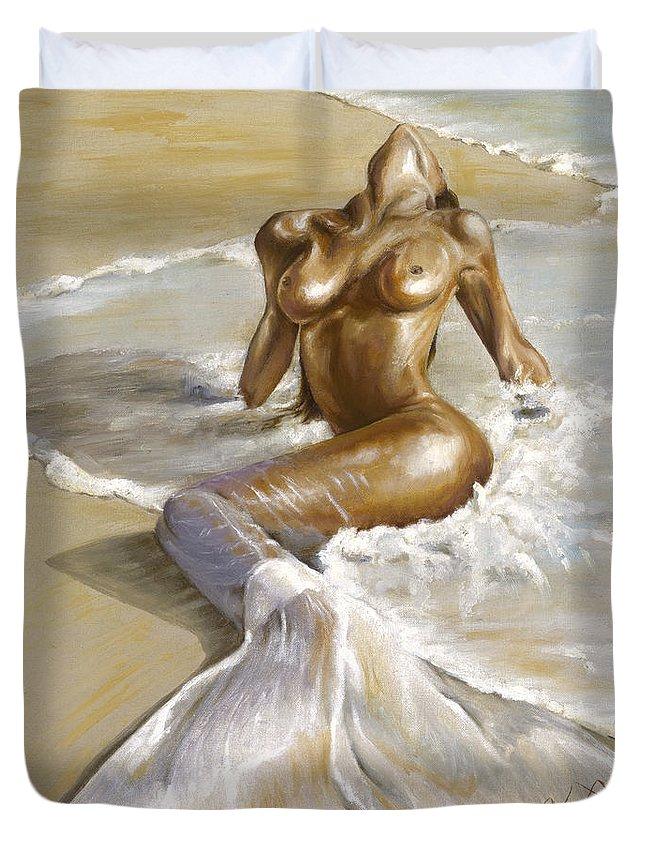 Mermaid Duvet Cover featuring the painting Mermaid by Karina Llergo