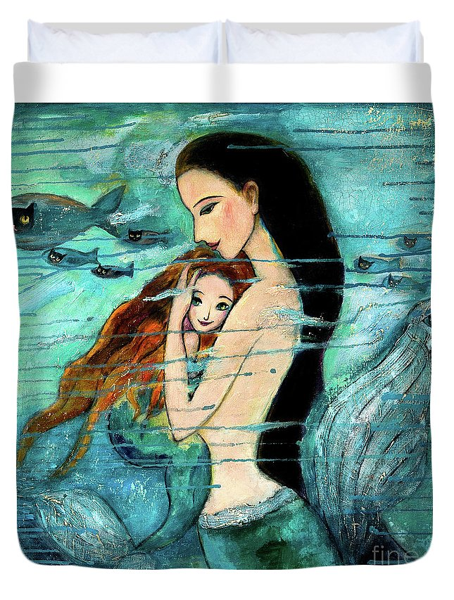 Mermaid Art Duvet Cover featuring the painting Mermaid Mother and Child by Shijun Munns