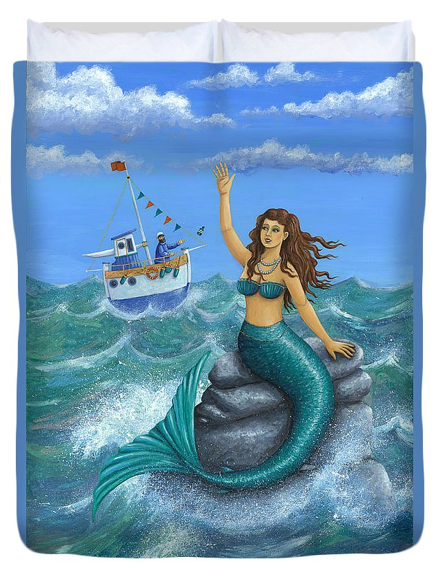 Peter Adderley Duvet Cover featuring the photograph Mermaid by MGL Meiklejohn Graphics Licensing