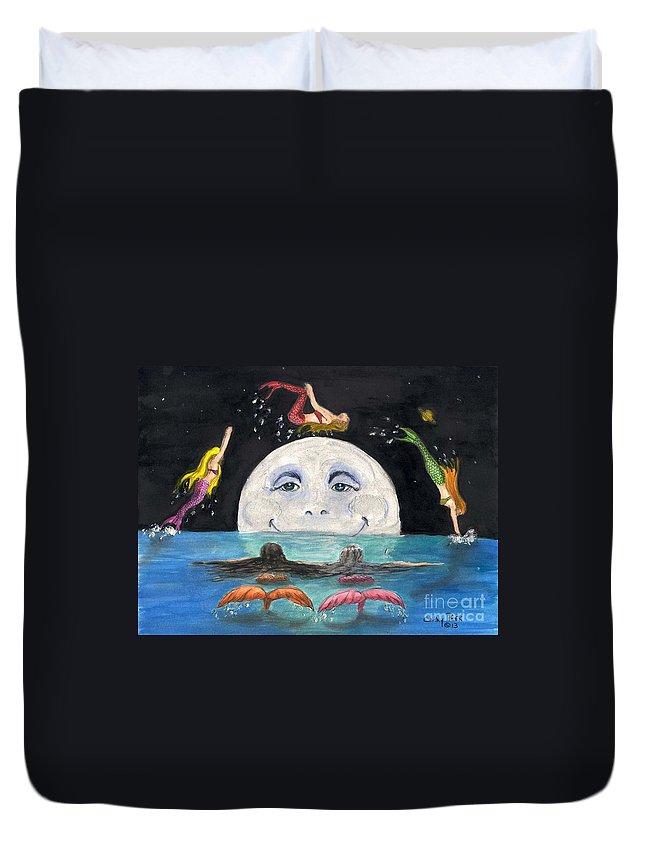 Mermaids Duvet Cover featuring the painting Mermaids Jumping Over Moon Cathy Peek by Cathy Peek