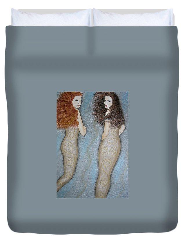 Mermaid Duvet Cover featuring the painting Mermaids by Lynet McDonald