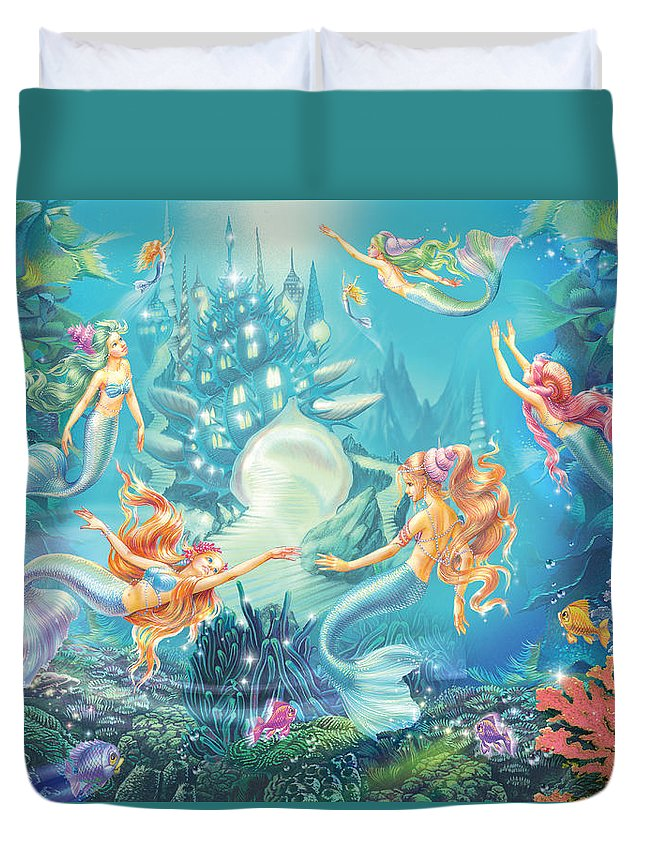 Blue Duvet Cover featuring the photograph Mermaids Place by MGL Meiklejohn Graphics Licensing