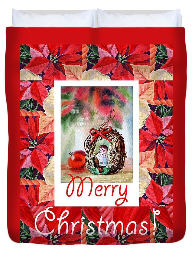 Merry Christmas Duvet Cover featuring the painting Merry Christmas From An Angel by Irina Sztukowski