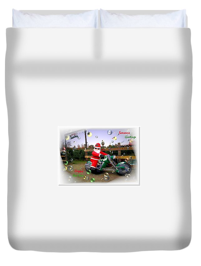 Holiday Duvet Cover featuring the photograph Merry Christmas Seasons Greetings Happy New Year by Joyce Dickens