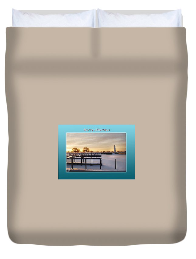 Marina Duvet Cover featuring the photograph Merry Christmas Winter Marina And Lighthouse by Michael Peychich