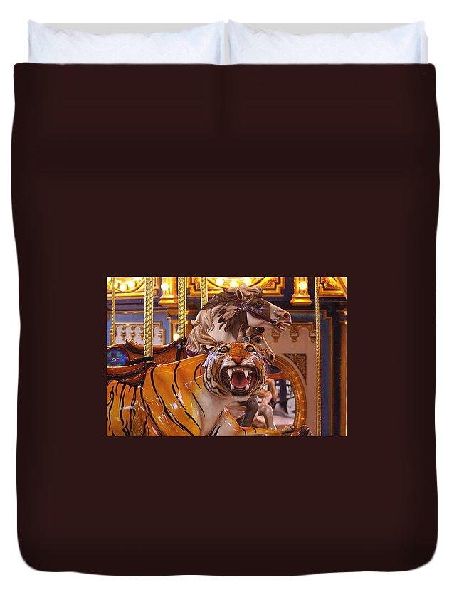 Tiger Duvet Cover featuring the photograph Merry- Go- Round by Randy Pollard