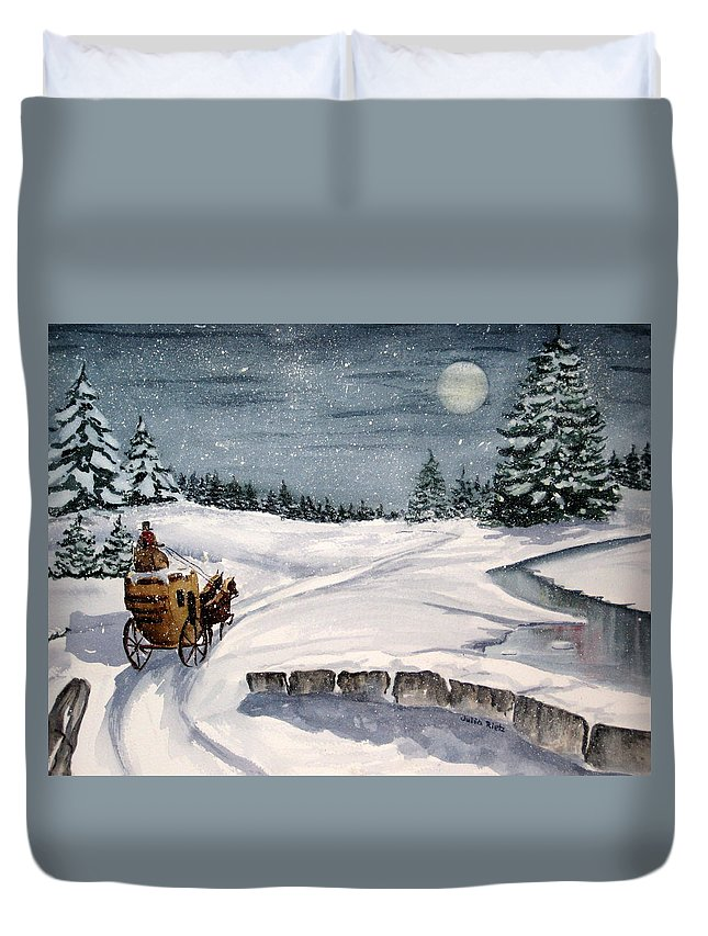 Holiday Duvet Cover featuring the painting Merry Ride by Julia RIETZ