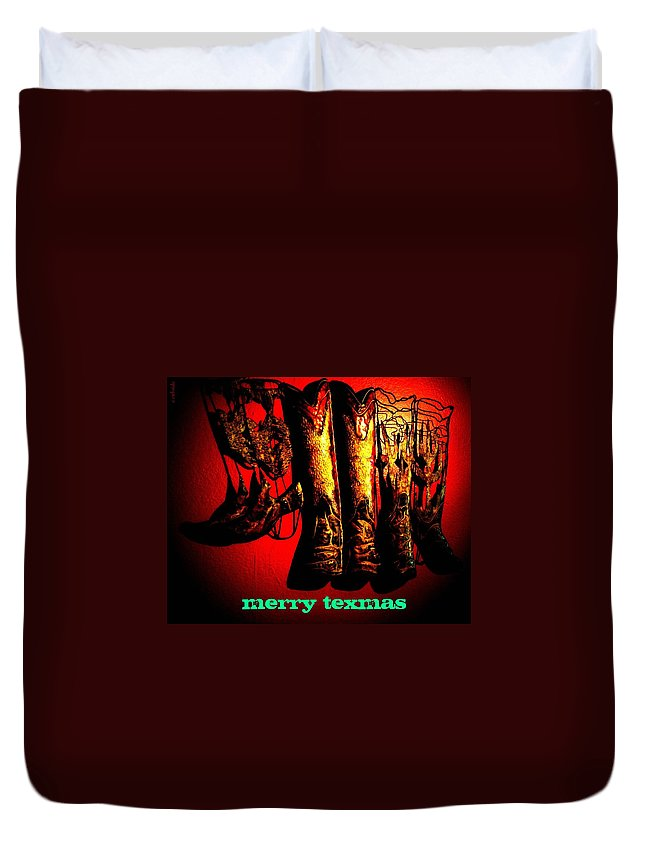 Christmas Duvet Cover featuring the photograph Merry Texmas by Chris Berry