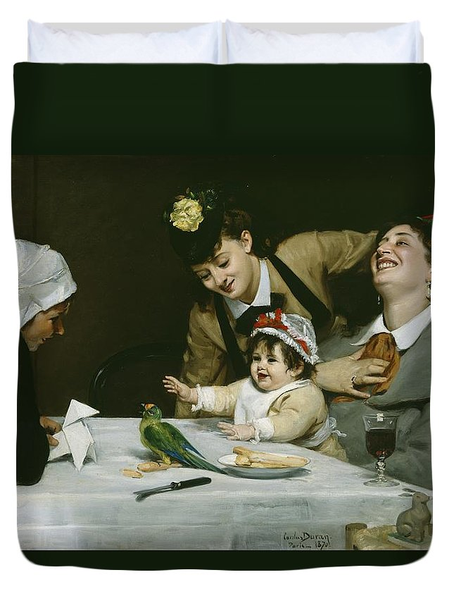 Merrymakers Duvet Cover featuring the painting Merrymakers by Charles Emile Auguste Carolus-Duran