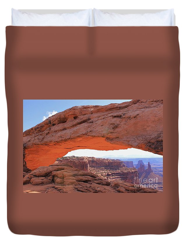 Mesa Arch Duvet Cover featuring the photograph Mesa Arch Sunrise by Tonya Hance