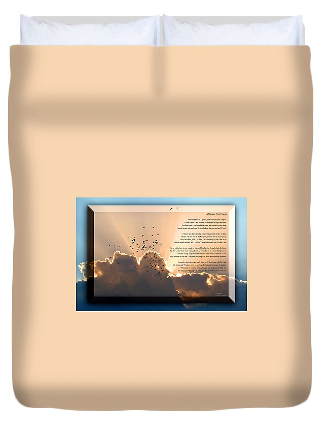Message From Heaven Duvet Cover featuring the photograph Message From Heaven by Carolyn Marshall