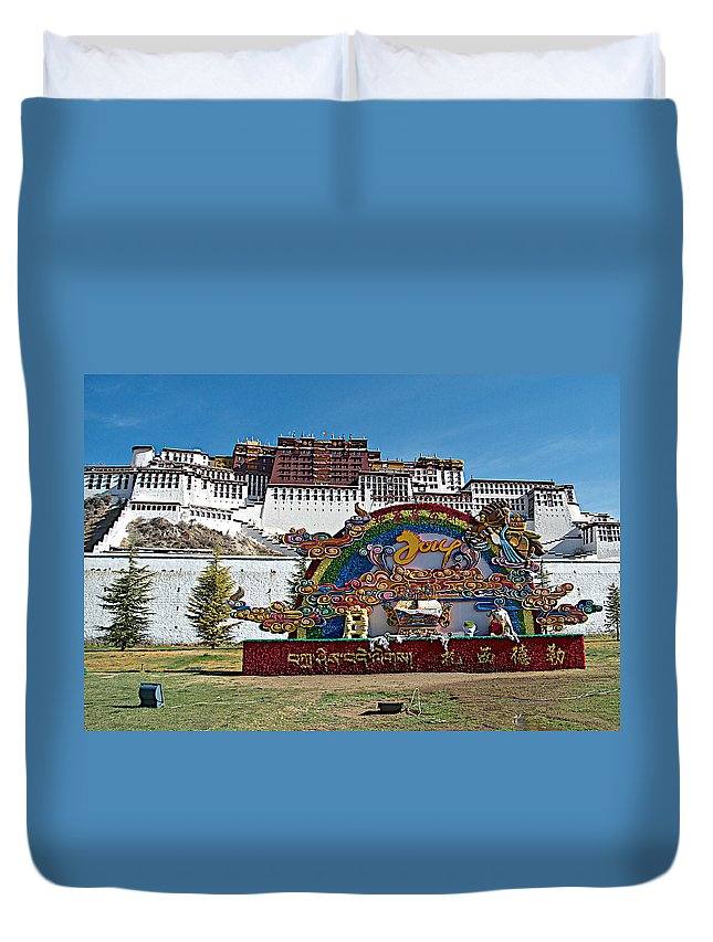 Message Of Joy From Potala Palace In Lhasa Duvet Cover featuring the photograph Message Of Joy From Potala Palace In Lhasa-tibet by Ruth Hager