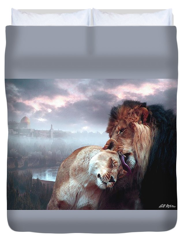 Lions Duvet Cover featuring the digital art Yeshua Loves Israel by Bill Stephens